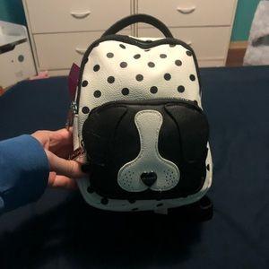 Betsey Johnson polka dot puppy backpack